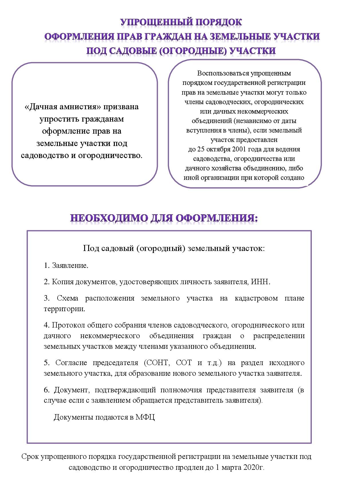 Упрощенный порядок оформления прав граждан на земельные участки под садовые участки